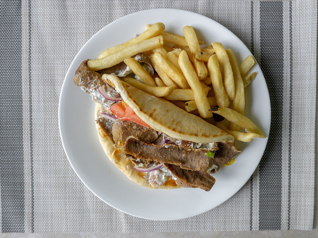 Restaurant purchased Gyro with French fries