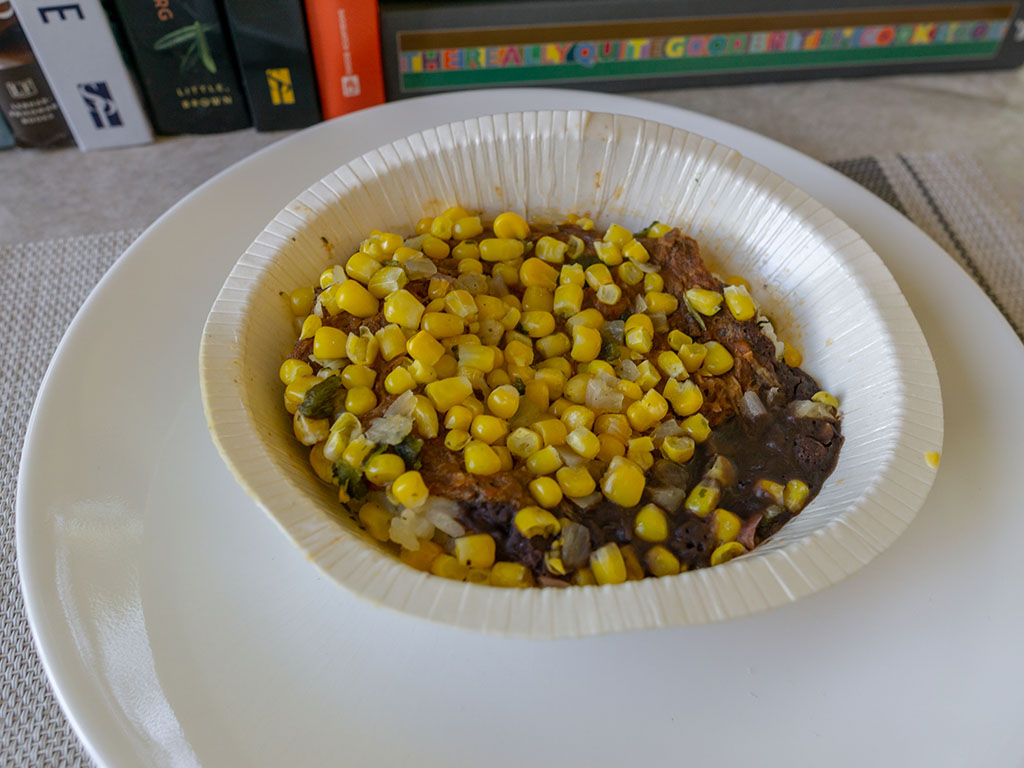 Sam's Choice Beef Barbacoa Burrito Bowl - cooked, out of microwave
