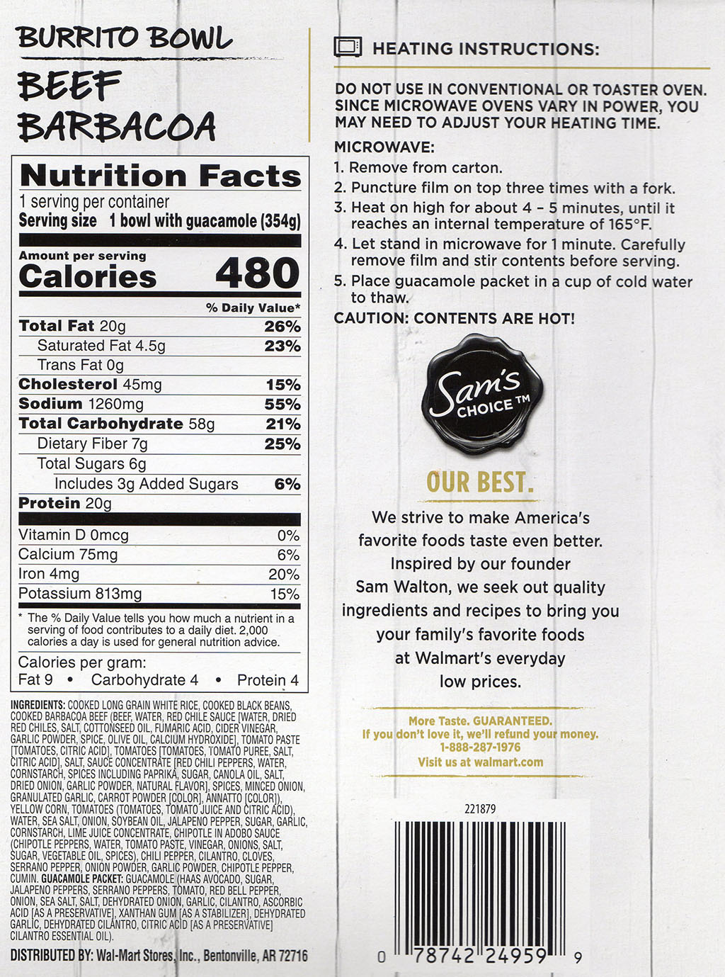 Sam's Choice Beef Barbacoa Burrito Bowl nutrition, ingredients, cooking instructions