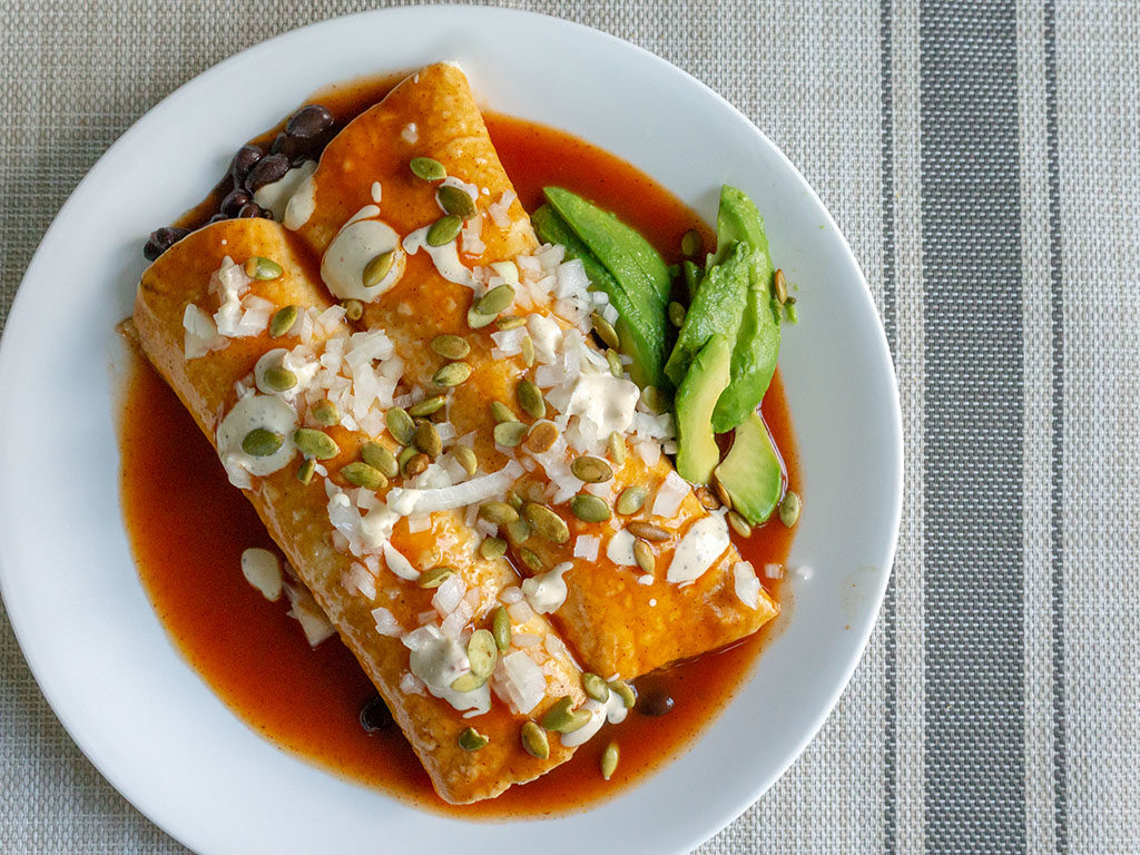 Vegetarian enchiladas using all Walmart bought items
