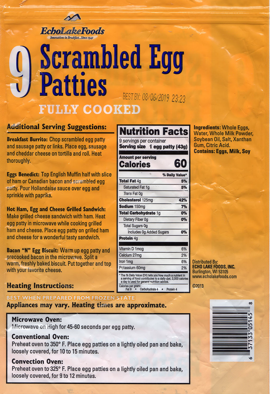 Echo Lake Foods Scrambled Egg Patties - cooking instructions, ingreditents, nutrition