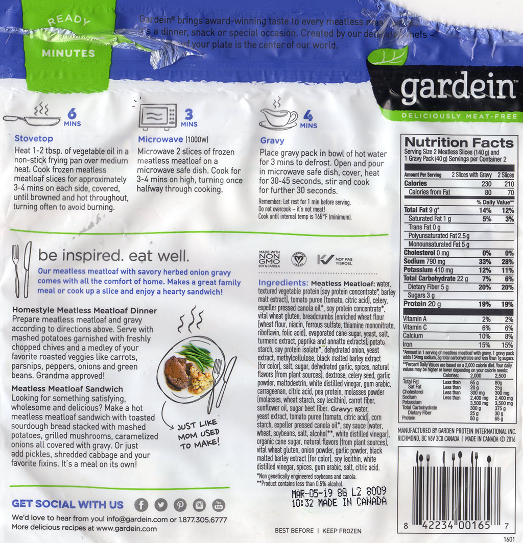 Gardein Home Style Meatless Meatloaf cooking instructions, ingredients, nutrition