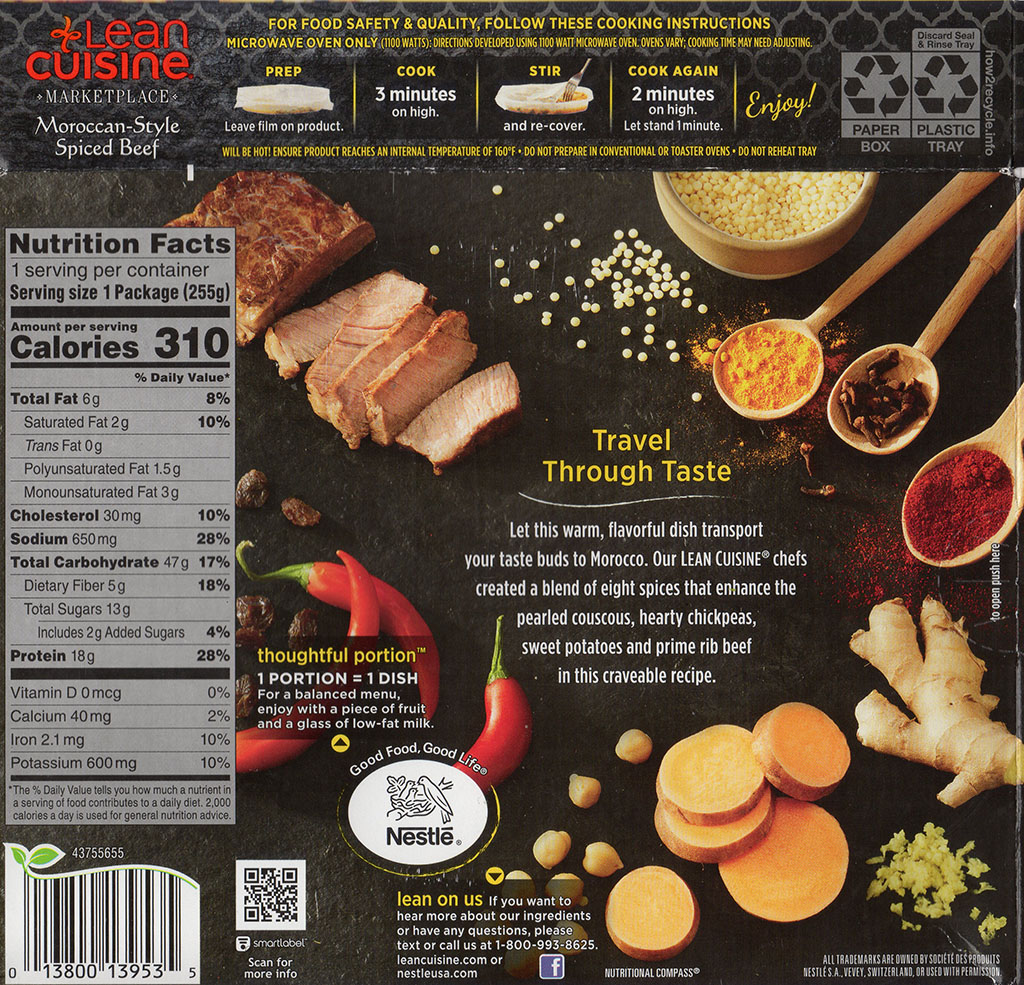 Lean Cuisine Marketplace Moroccan-Style Spiced Beef cooking instructions, nutrition