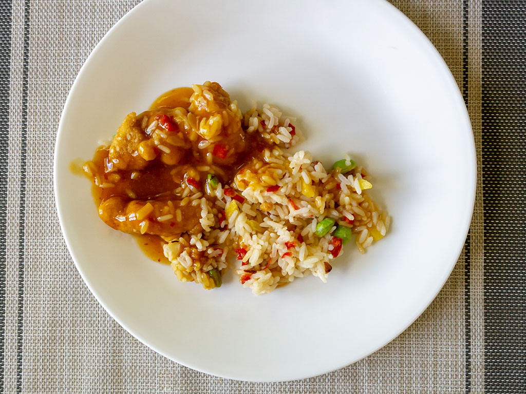 Lean Cuisine Marketplace Orange Chicken cooked and plated