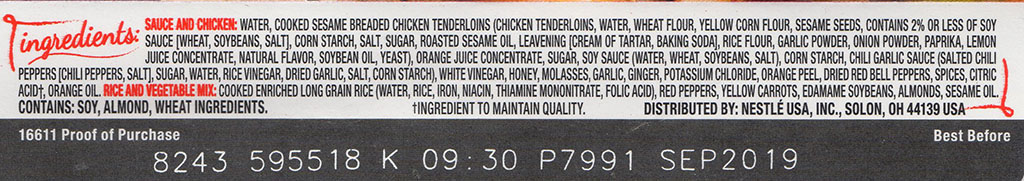 Lean Cuisine Marketplace Orange Chicken ingredients