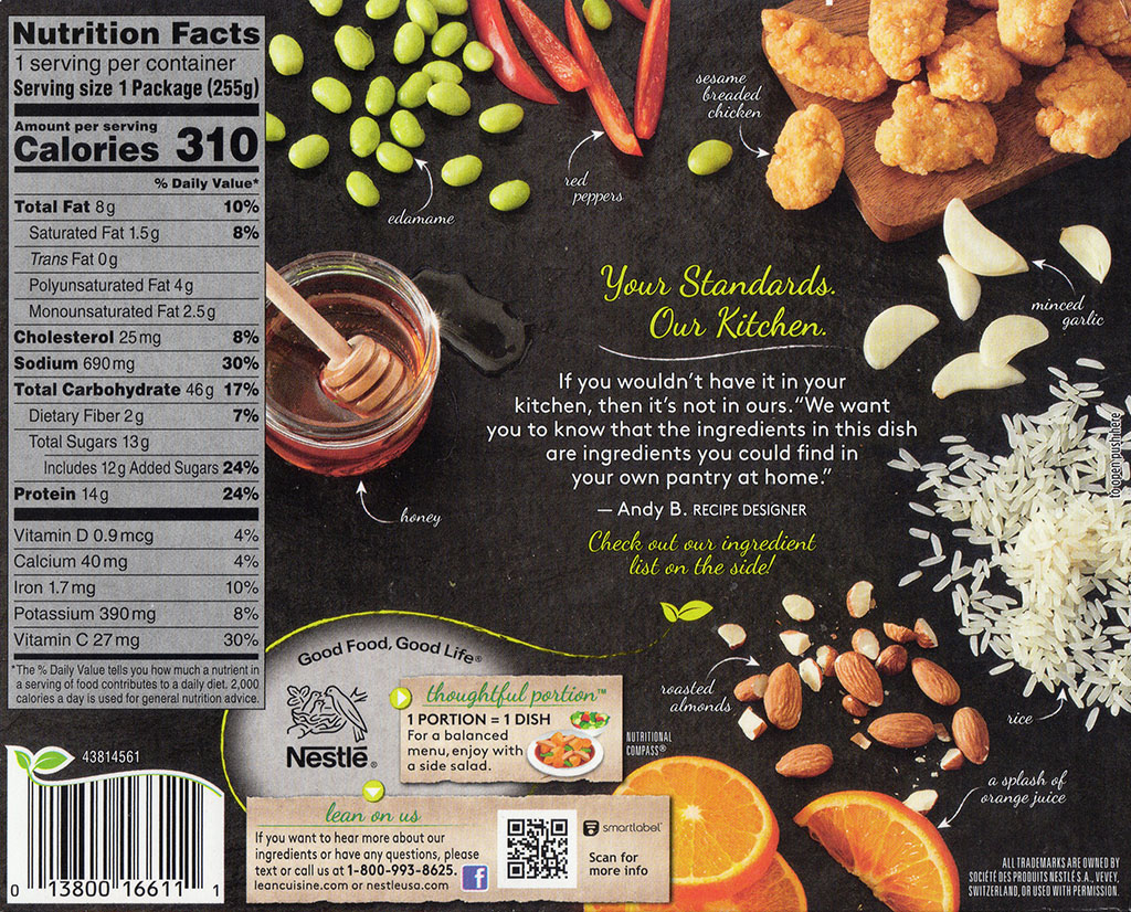 Lean Cuisine Marketplace Orange Chicken nutrition