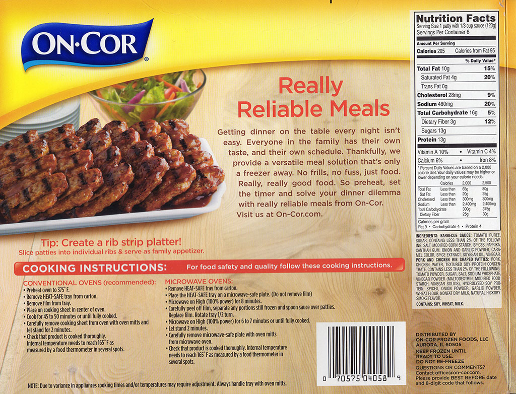 On-Cor Boneless Rib Shaped Patties cooking instructions, ingredients, nutrition