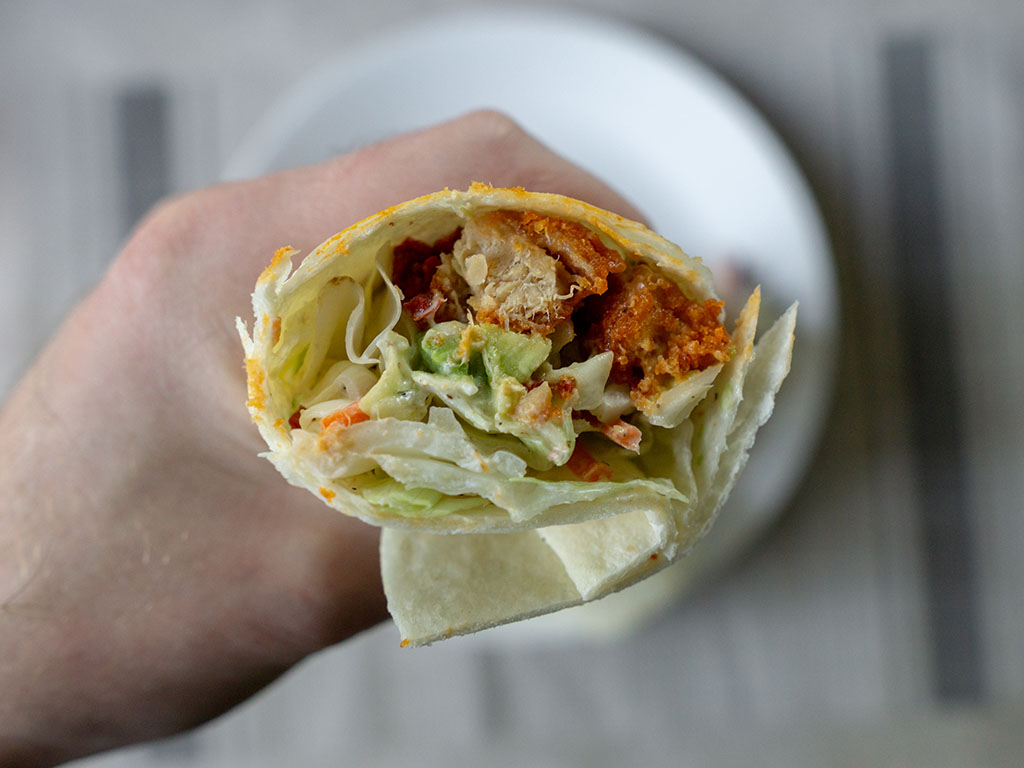 Buffalo wrap close up with MorningStar Farms Chick'N Nuggets