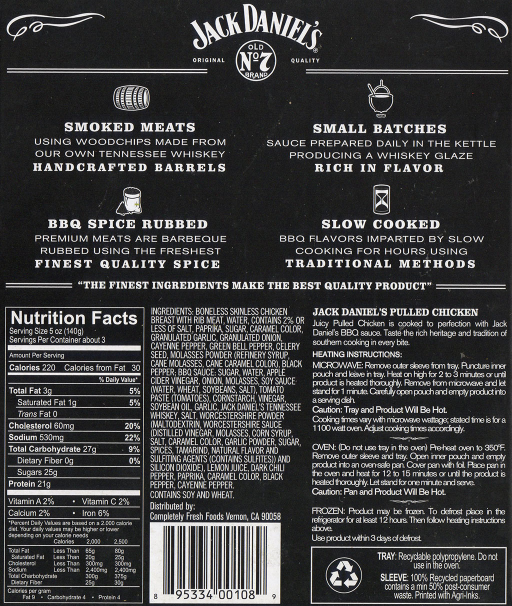 Jack Daniel's Pulled Chicken cooking instructions, ingredients, nutrition
