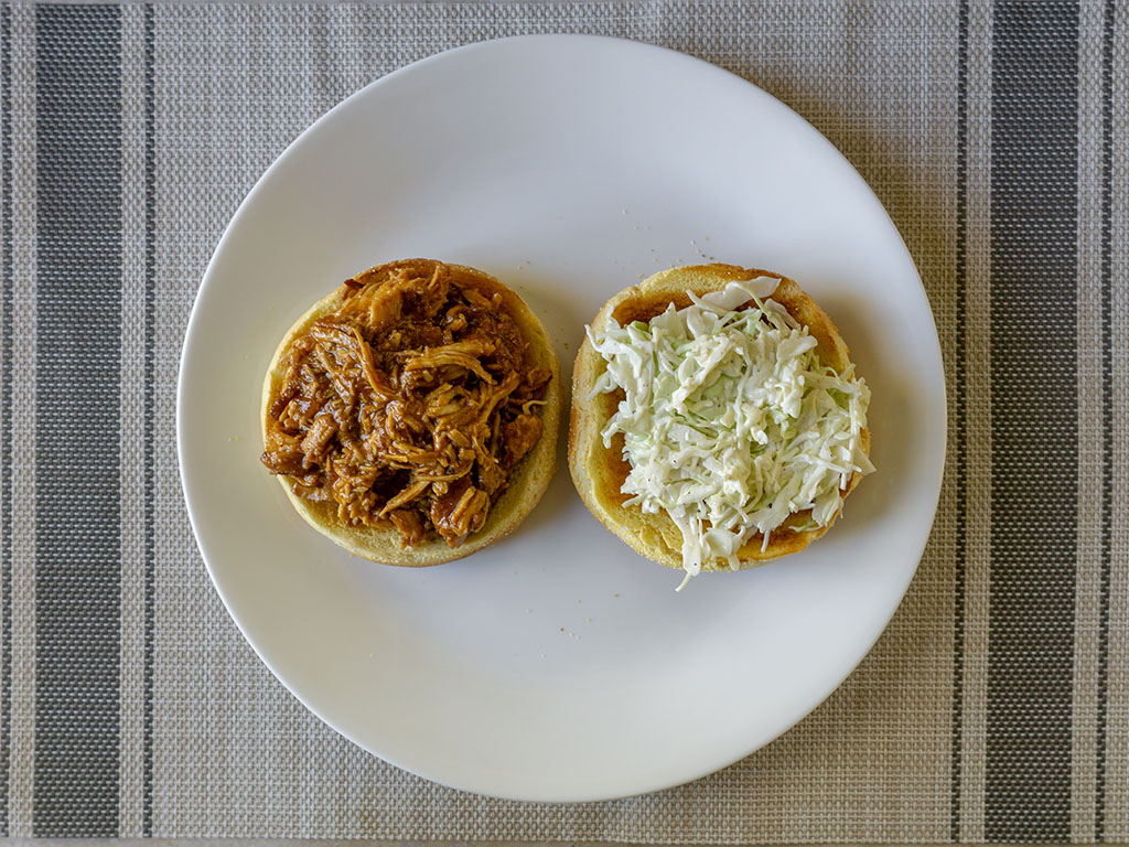 Jack Daniel's Pulled Chicken sandwich open