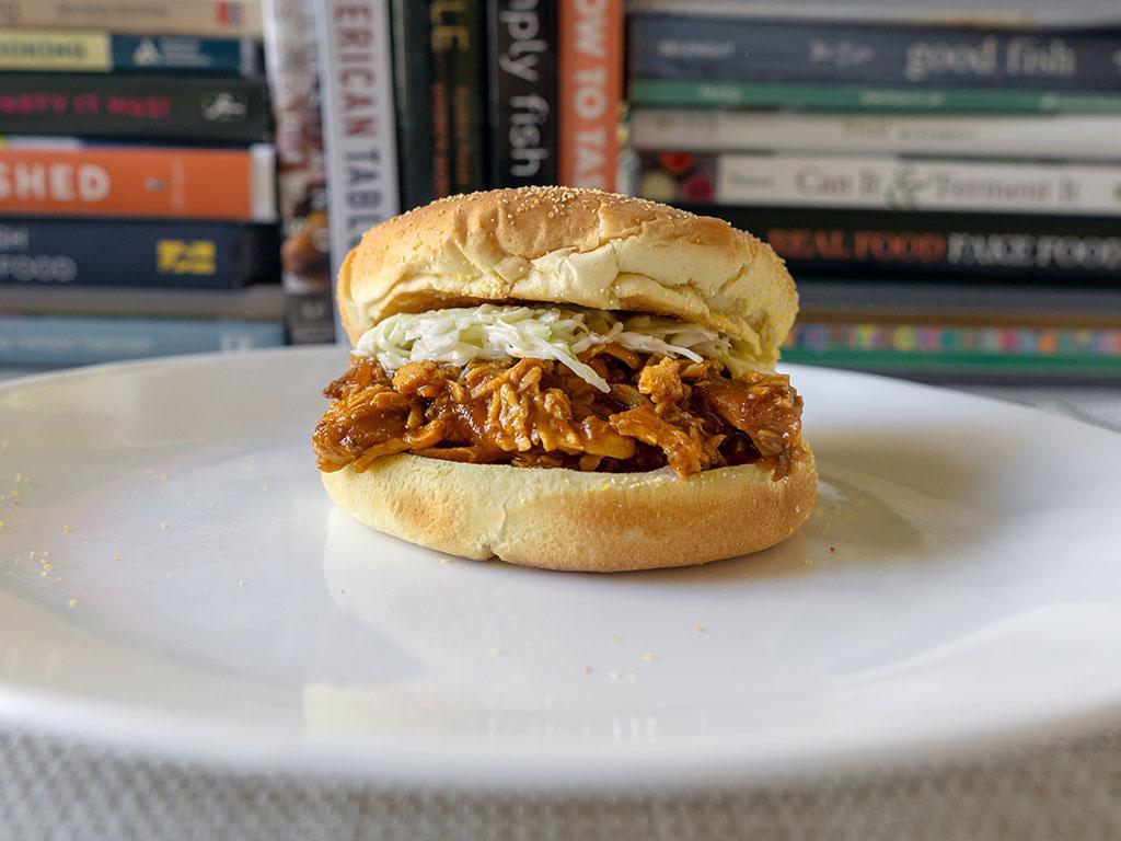 Jack Daniel's Pulled Chicken sandwich with coleslaw