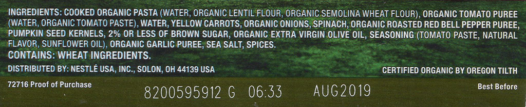 Lean Cuisine Origins Sicilian-Style Pesto With Lentil Pasta ingredients