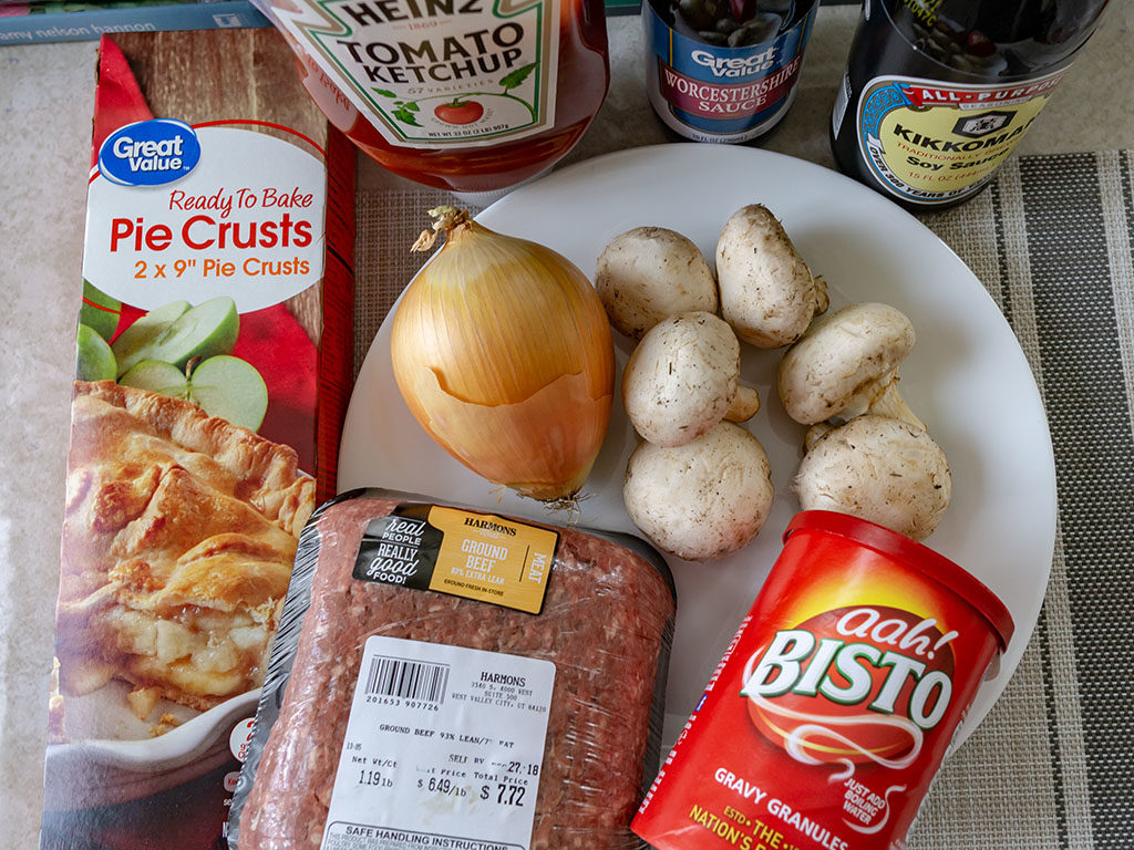 British beef and onion pie - ingredients