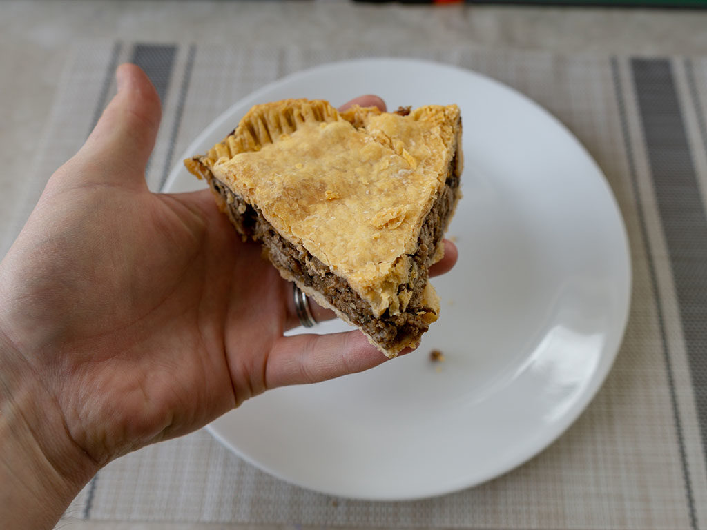 British beef and onion pie - refriegerated pie holding solid