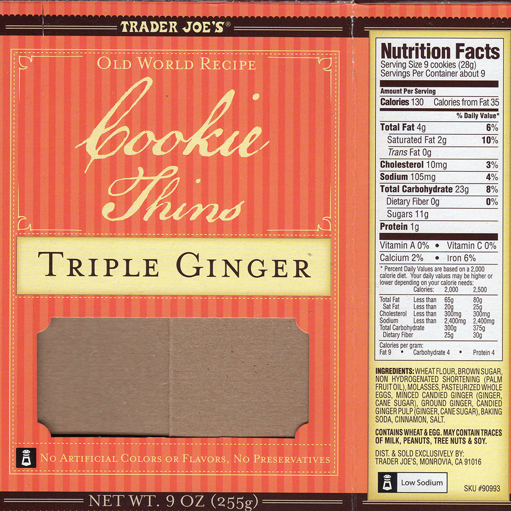 Trader Joe's Triple Ginger Cookie Thins nutrition and ingredients