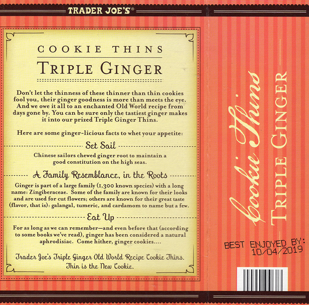 Trader Joe's Triple Ginger Cookie Thins - package rear
