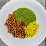 Indian saag with spiced chickpeas and pilaf