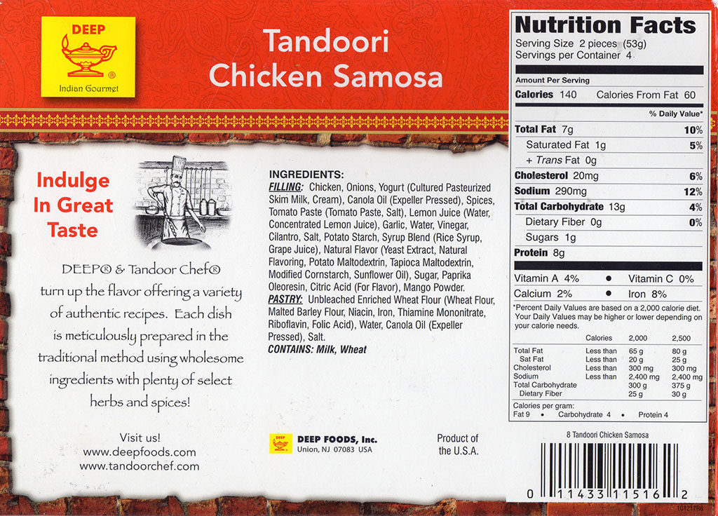 Tandoor Chef Tandoori Chicken Samosa nutrition and ingredients