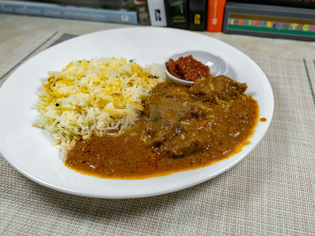 Trader Joe's Lamb Vindaloo cooked and plated
