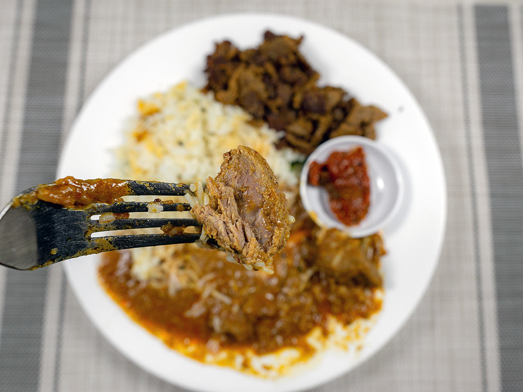 Trader Joe's Lamb Vindaloo cooked lamb close up