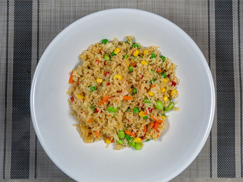Trader Joe's Vegetable Fried Rice cooked and plated