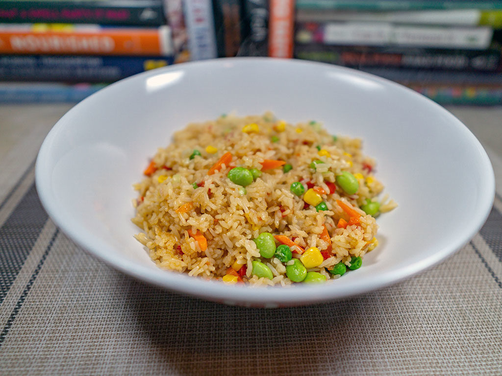 Trader Joe's Vegetable Fried Rice cooked close up