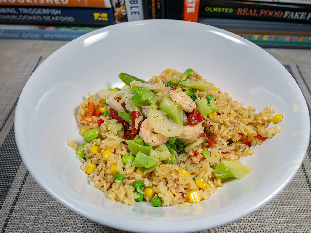 Trader Joe's Vegetable Fried Rice cooked with Trader joe Shrimp stir fry