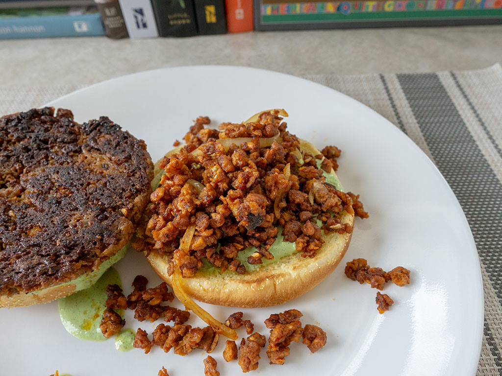 Field Burger with Gardein The Ultimate Beefless Ground crumbles top down