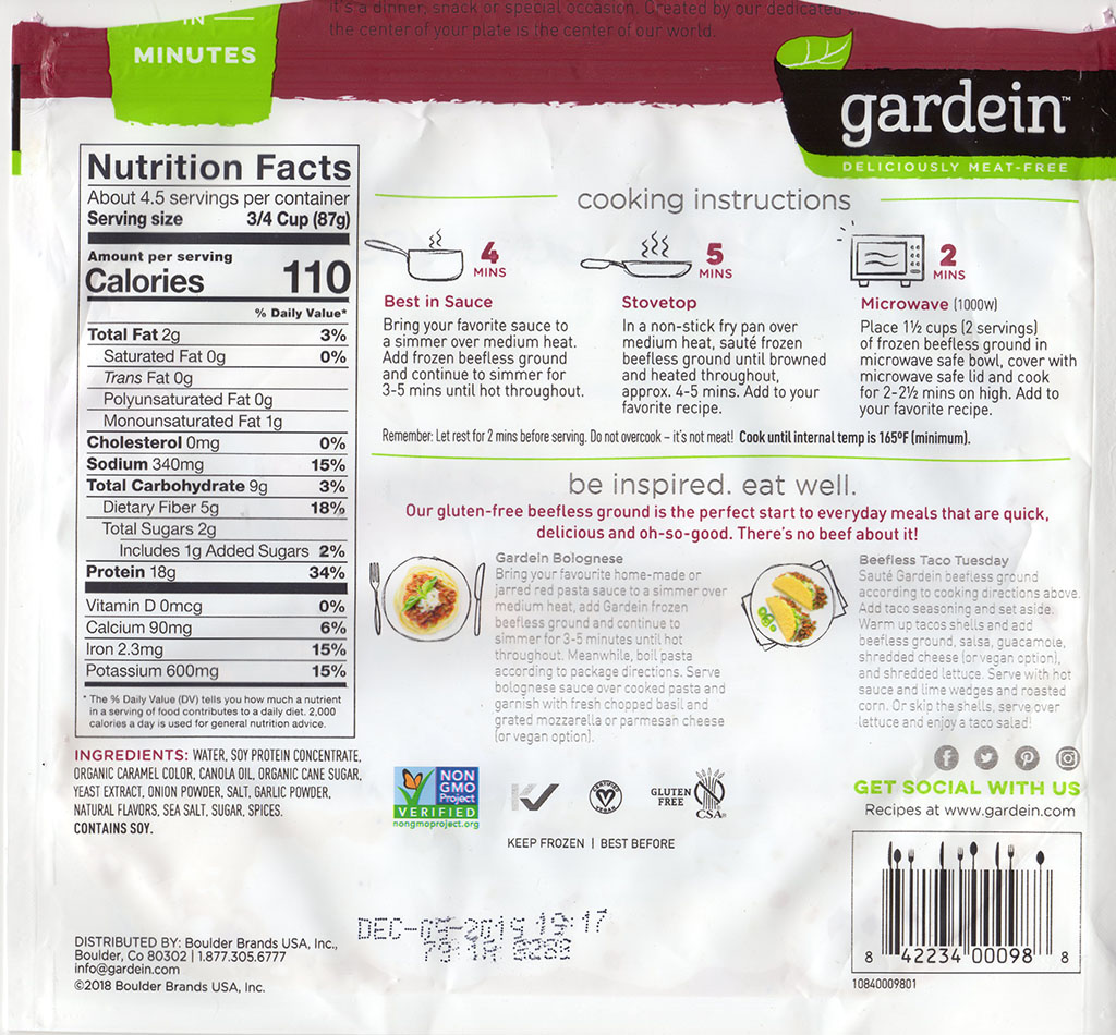Gardein The Ultimate Beefless Ground cooking instructions, nutrition
