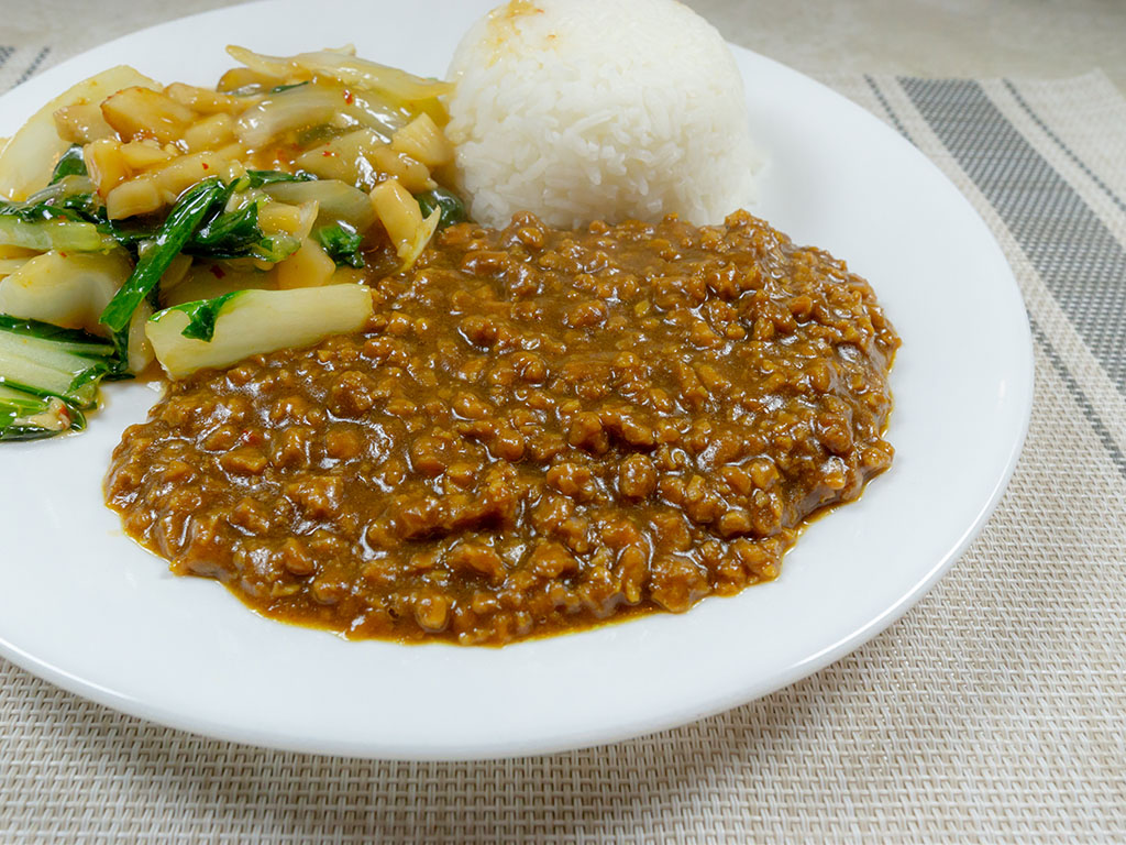 House Foods Kokomaru Curry with Gardein The Ultimate Beefless Ground close up