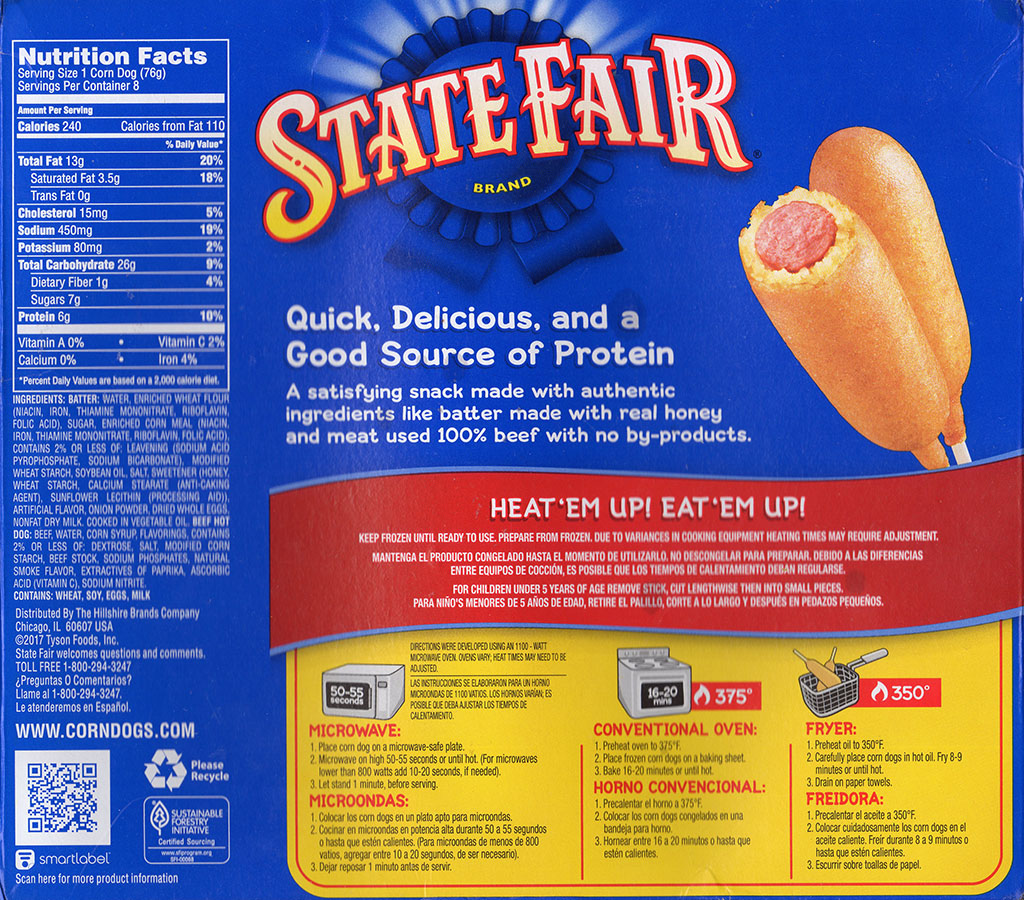 State Fair Beef Corn Dogs nutrition, ingredients and cooking instructions