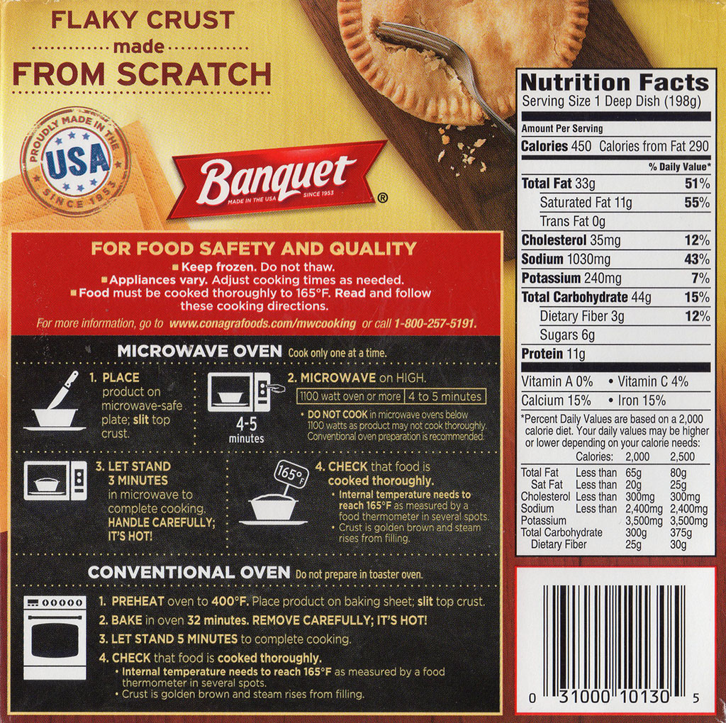 Banquet Sausage And Gravy Deep Dish pot pie cooking instructions, nutrition