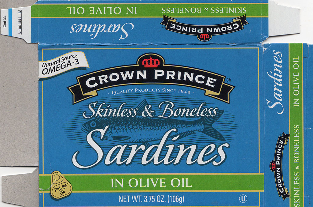 Crown Prince Skinless And Boneless Sardines package front