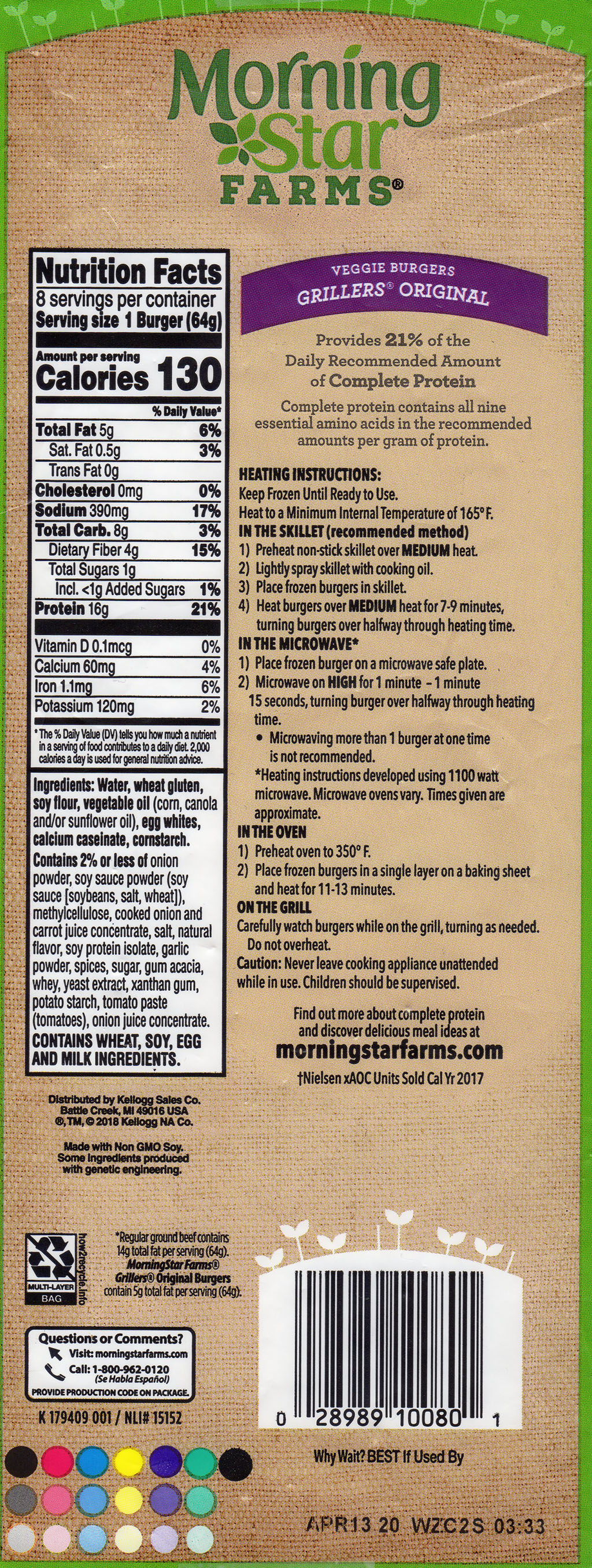 MorningStar Farms Grillers Original 2019 nutrition, ingredients