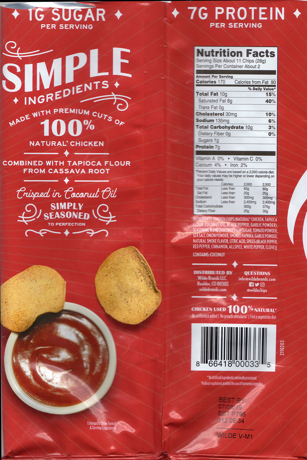 Wilde Brand BBQ Chicken Chips nutrition and ingredients