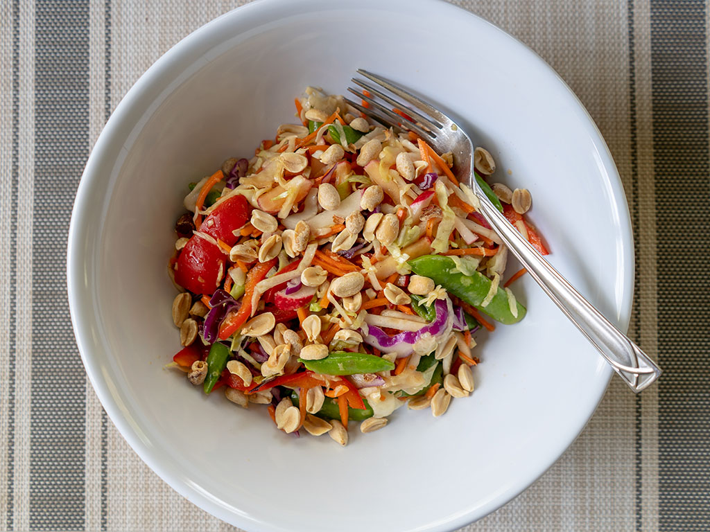 Asian salad with soy, garlic and ginger dressing