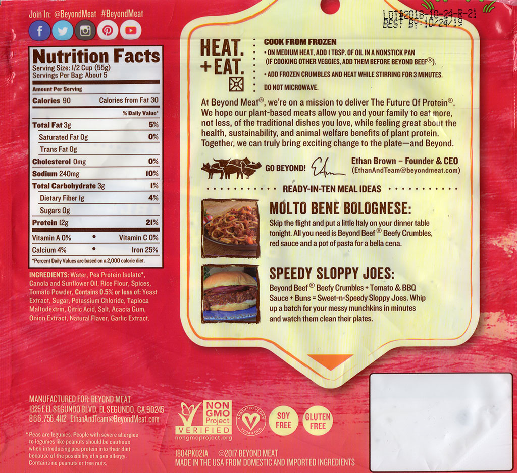 Beyond Meat Beef Crumbles cooking instructions, ingredients