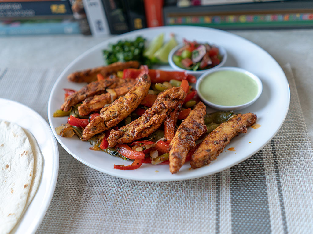 Gardein Meatless Chick'n Strips fajitas close up