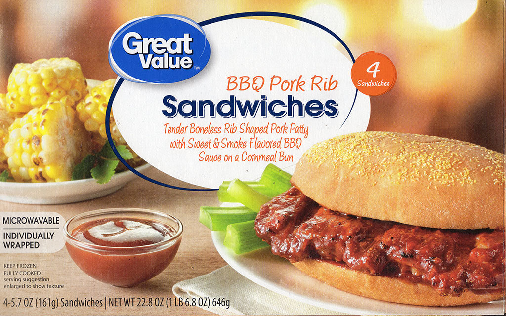 Great Value BBQ Pork Rib Sandwiches package front