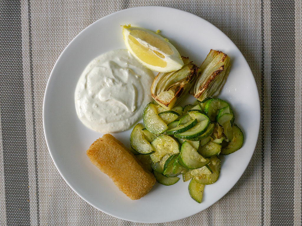 Roast fennel with sauteed squash and lemon yogurt sauce