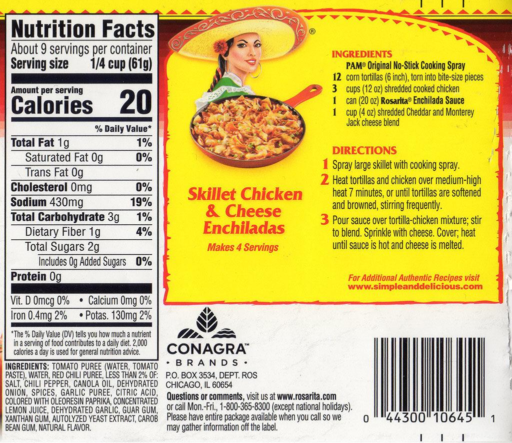 Rosarita Enchilada Sauce ingredients and nutrition