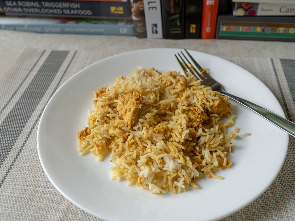 Sukhi's Chicken Biryani cooked and plated