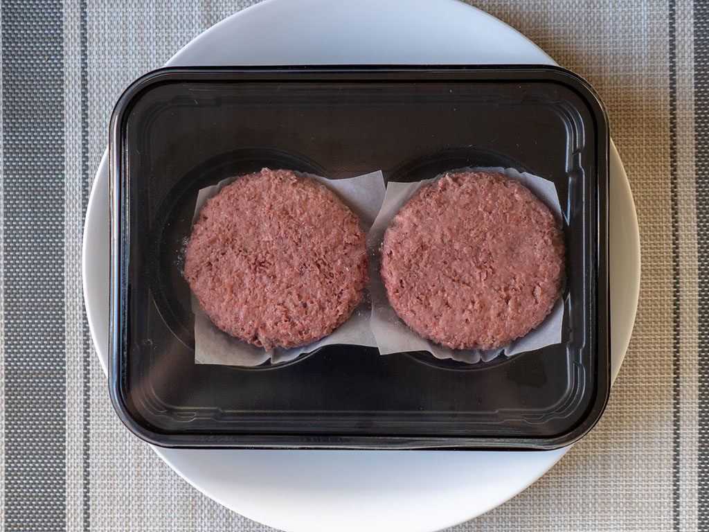 The Beyond Burger raw in packaging