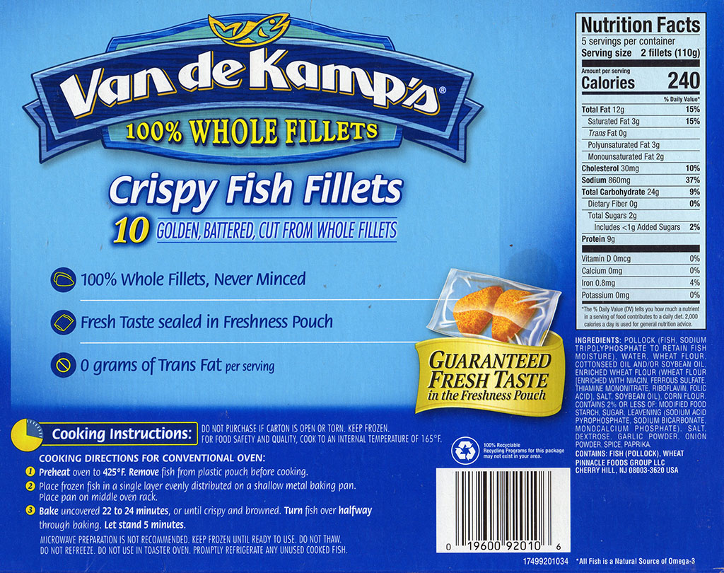 Van de Kamp's Crispy Fish Fillets cooking instructions, nutrition