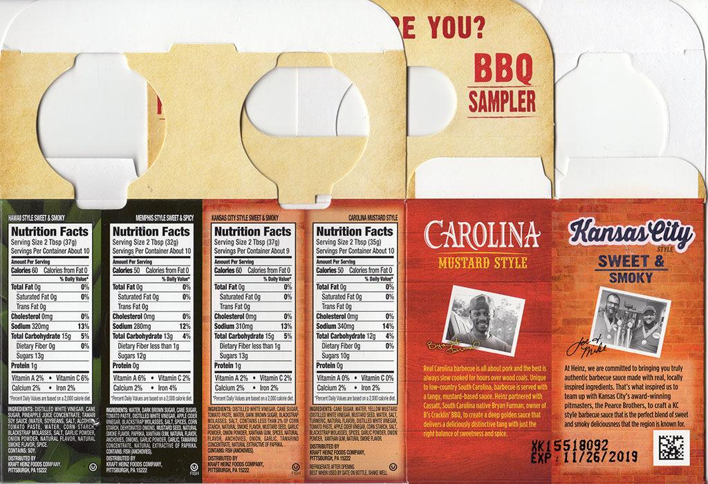 Heinz BBQ Sampler Pack package back
