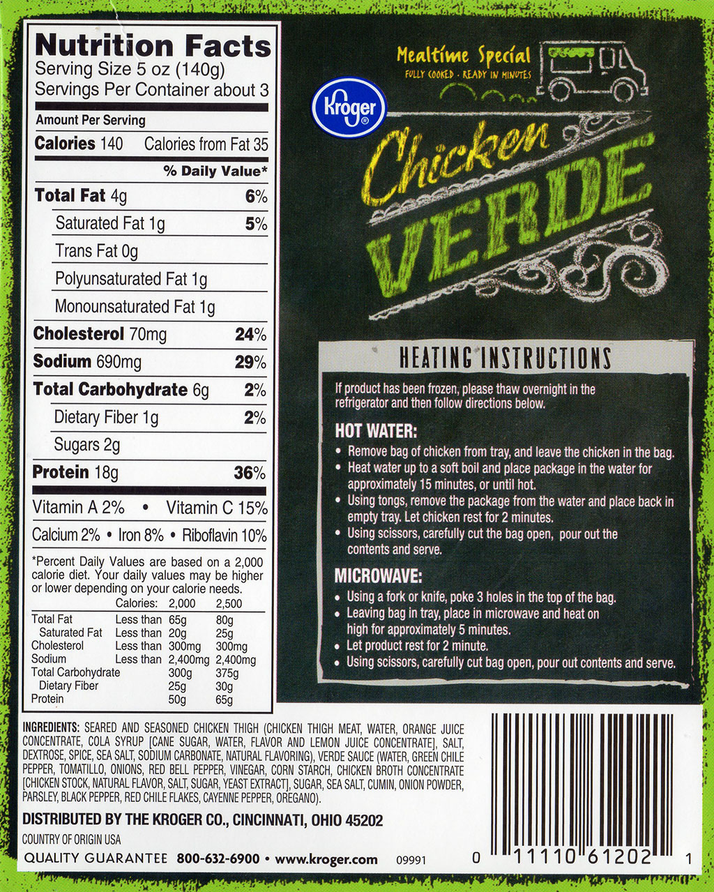 Kroger Chicken Verde cooking instructions, ingredients