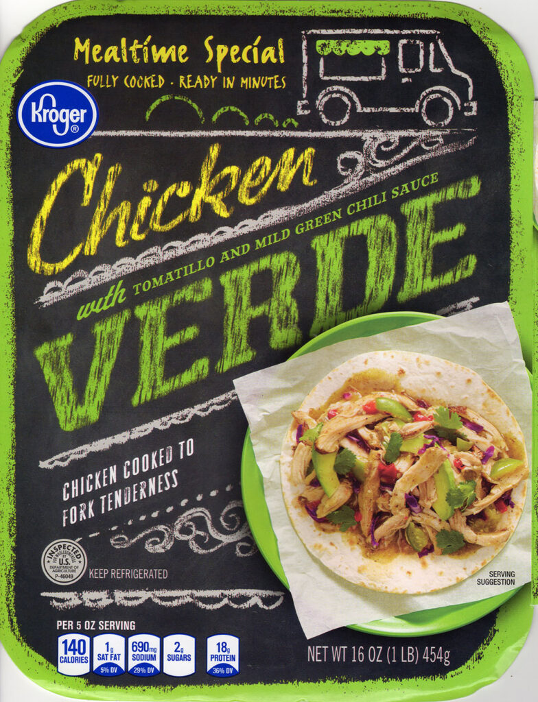 Kroger Chicken Verde package front