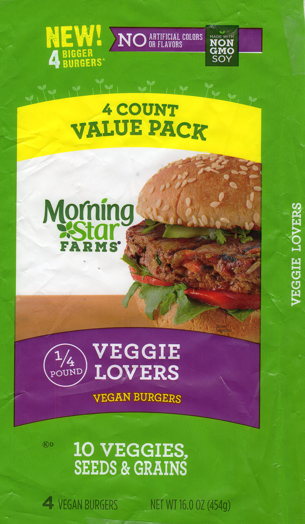 MorningStar Farms Veggie Lovers Vegan Burgers package front