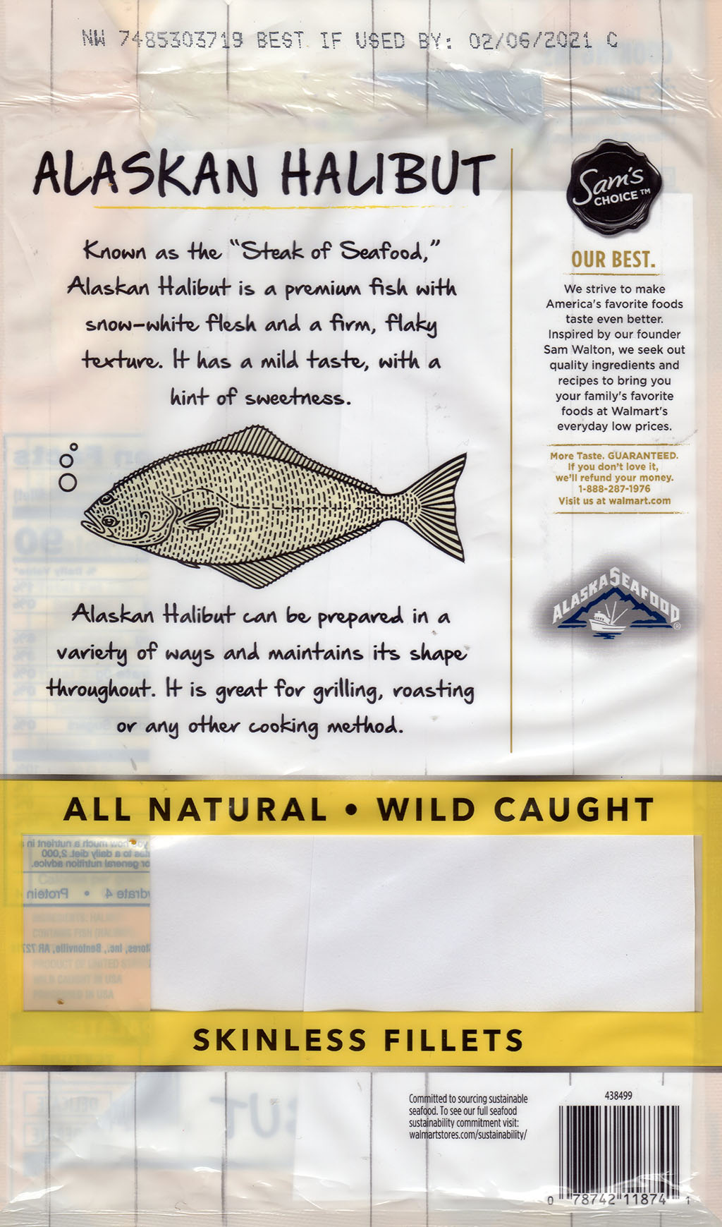 Sam's Choice Wild Caught Alaskan Halibut package front