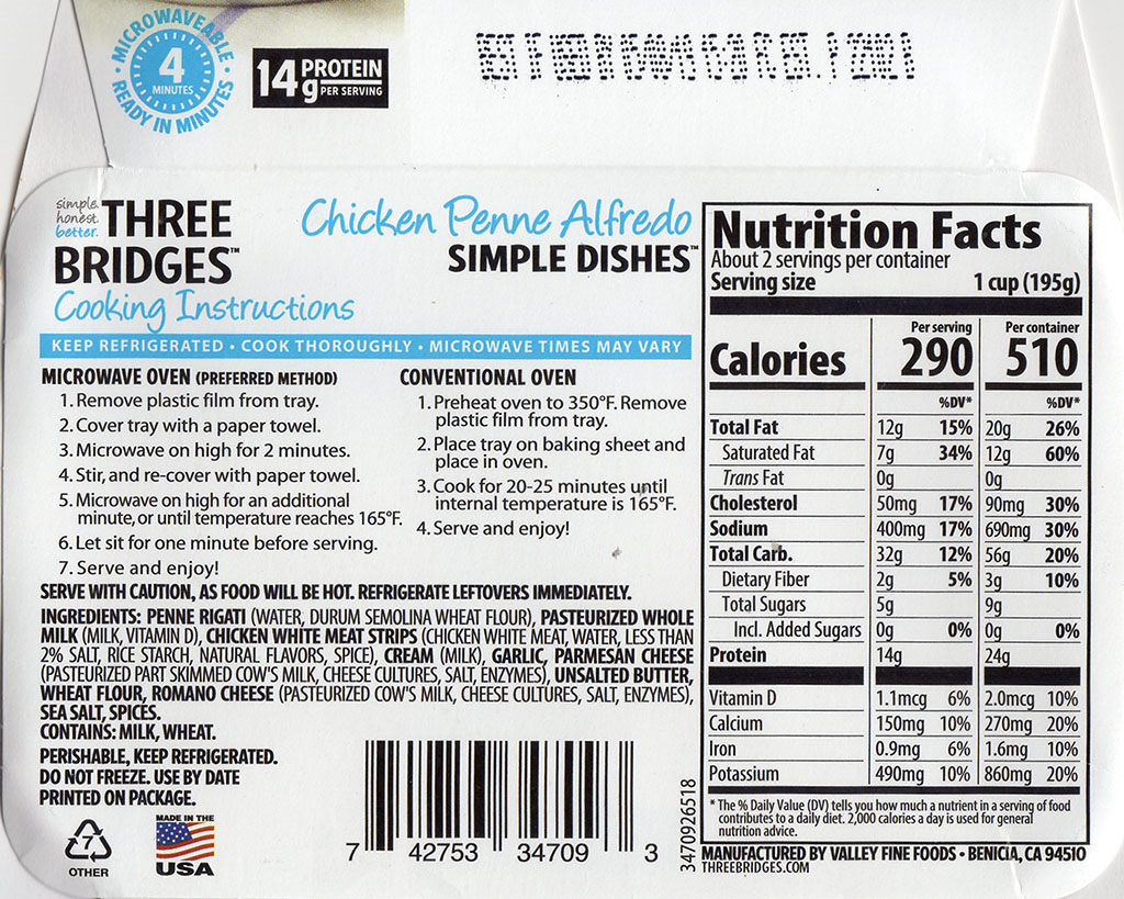 Three Bridges Chicken Penne Alfredo cooking instructions, nutrition, ingredients
